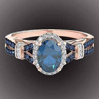 WillowswayW Women Oval Shiny Blue Rhinestone Bride Engagement Wedding Ring Fashion Jewelry Gift