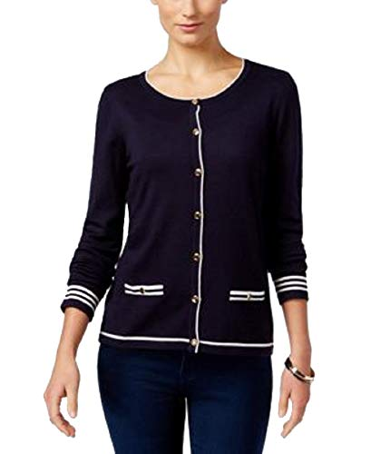 Karen Scott Womens Petites Knit Button Down Cardigan (Rich Navy Cmbo, PM)