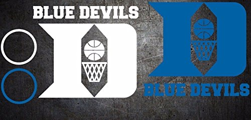 Devils Decal Blue - Duke Blue Devils Basketball Cornhole Decals sticker 6 pc Set - Free Window Decal (1 White/1 Blue (As Shown))