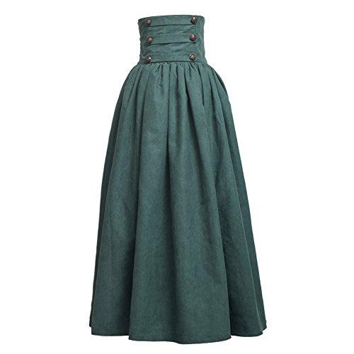 BLESSUME Gothic Skirt Lolita Steampunk High Waist Walking Skirt -