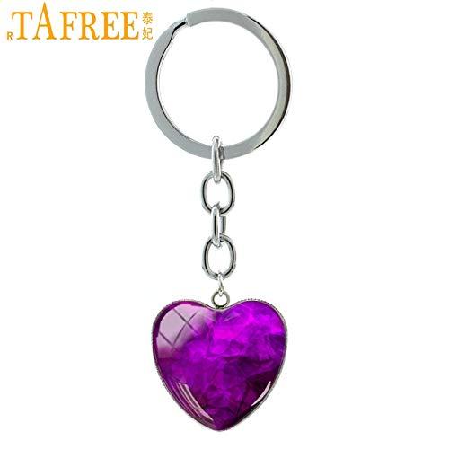 Key Chains - Purple Crystal Photo Heart Pendant Keychain Classic Elegant Key Chain Car Key Holder Fantasy Charm Women Gift Jewelry H58 - by ptk12-1 PCs