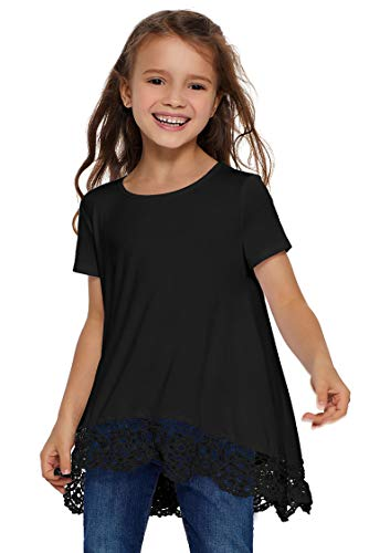 - Blibea Girls Casual Short Sleeve Tops Blouse Solid Color Cute T Shirts Birthday Shirt Ruffled Fashion Outfits Size 6-7 Black