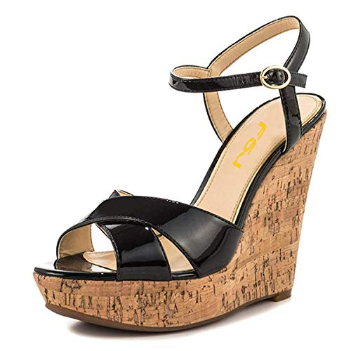 FSJ Women Peep Toe Platform Cork Wedge High Heel Ankle Strap Summer Sandals Party Pumps Size 8.5 Black