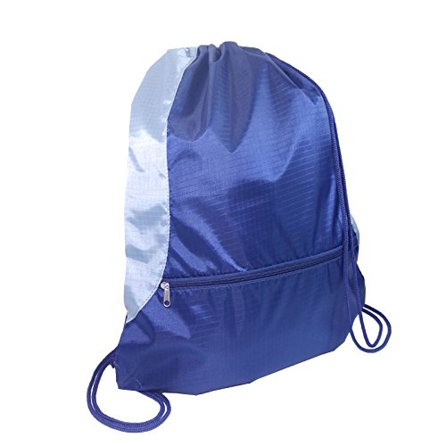"Gym Sack Bag Backpack Drawstring Closure With Zipper Front Pocket 17.75"" x 14.5"" (Navy / Grey)"