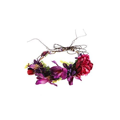 Women Flower Crown Festival Wedding Girls Party Headband Flower Garlands Halo With Ribbon Flower Headband Wreath,B