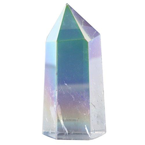 Large Crystal - SUNYIK Angel Aura Quartz Titanium Coated Crystal Self Standing 6 Facet Single Point Figurine Sphere