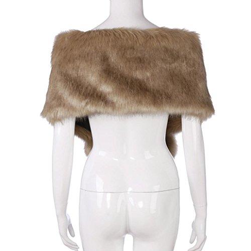Qisc Faux Fur Wrap Shawl Shrug Bridal Faux Fur Jacket Coat Shawls Stole Lady Gift by (Free Size, Khaki) by Qisc (Image #1)