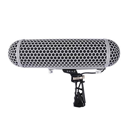 (Micolive Microphone Windshield Blimp Style Protect Cage and Rycote Shock Mount Suspension System Compatible for Rode NTG1 NTG2 NTG3 NTG4 Series Shotgun Microphones or similar size)