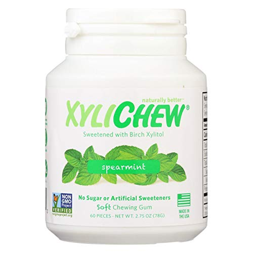 (XyliChew Chewing Gum - Sugar Free Spearmint - 60 Piece Jar - Case of 4 - Gluten Free - Dairy Free - Yeast Free - Wheat Free - Vegan)