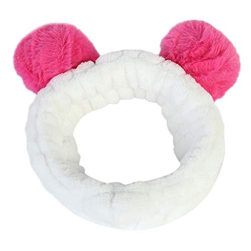 iNoDoZ Women Lovely Fluffy Elastic Hair Band Band Panda Bear Cute Head Hair Band Headwear Hot Pink -