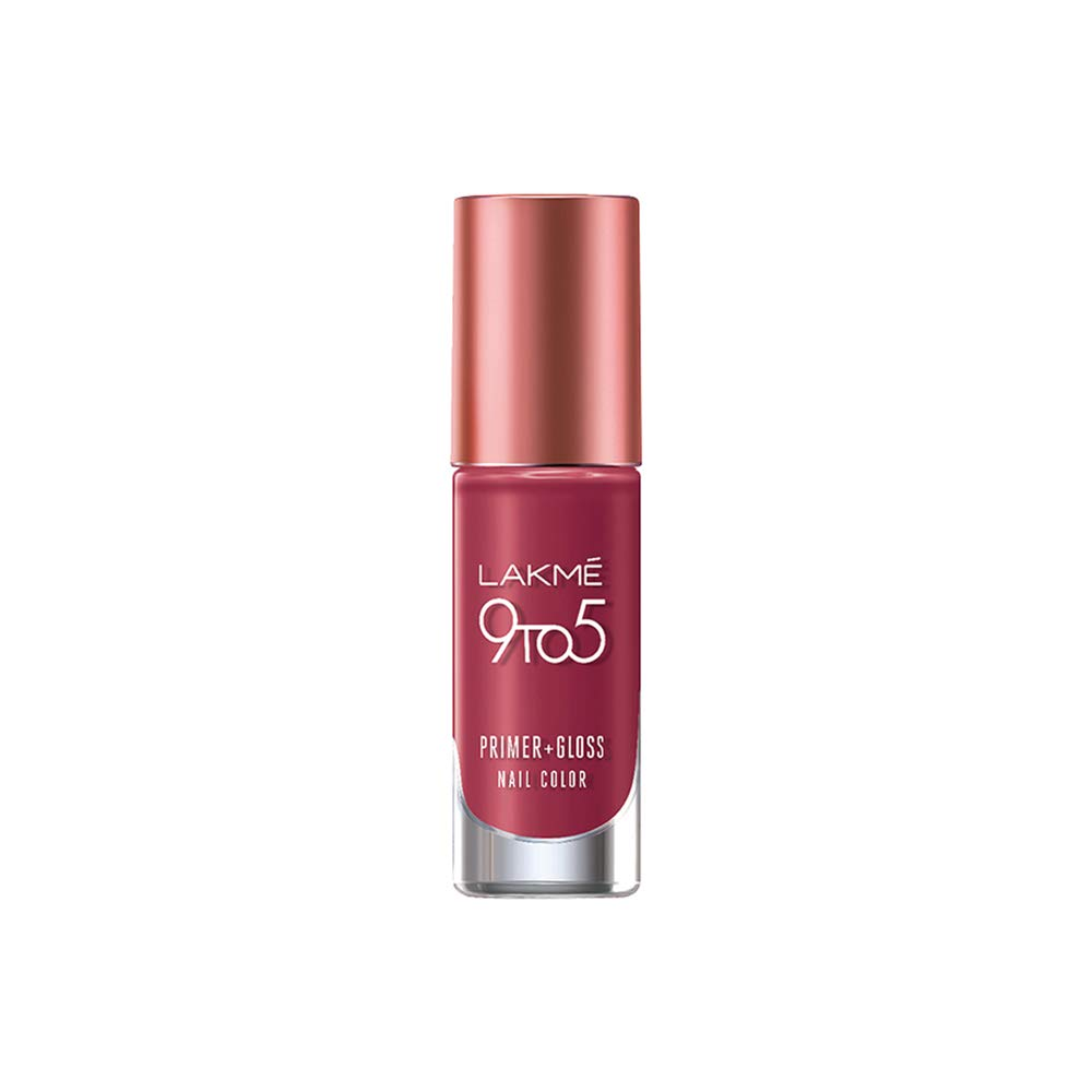 Lakme 9 to 5 Primer + Gloss Nail Colour, Berry Business, 6 ml