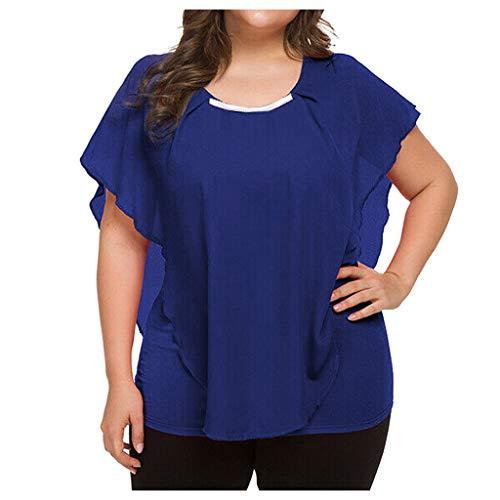 (Londony❀♪ Womens Casual Scoop Neck Loose Top 3/4 Sleeve Chiffon Blouse Shirt Tops Girls Plus-Size Chiffon Trim Tunic Blue)