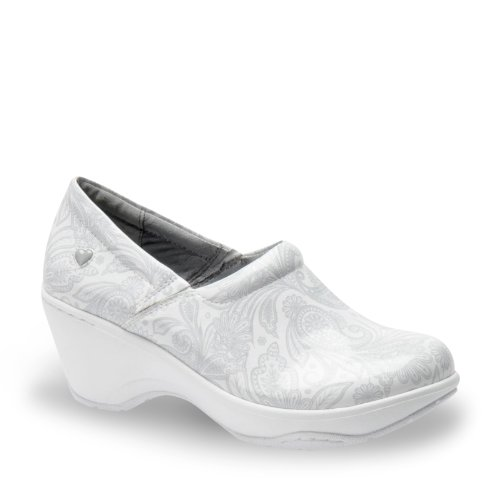 Nurse Mates Womens Bryar Leather Round Toe Clogs White/Lt Grey