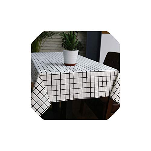 Stylish Linen Tablecloth Country Style Plaid Print Multifunctional Rectangle Table Cover Tablecloth Home Kitchen Decoration,White,140X180Cm]()