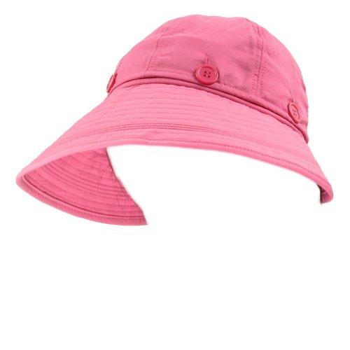 LOCOMO Detachable Roll Summer Beach Sun Visor Wide Brim Hat Cap Pink FFH042PNK