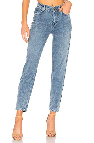 H HIAMIGOS Women's High Waist Mom Jeans,Boyfriend Straight-Leg Denim Pants Light Blue 24