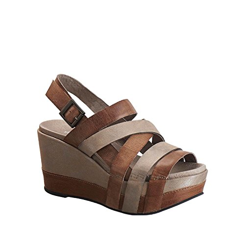 Antelope Women's 847 Grey Leather Multi Strap Wedge Sandals 39