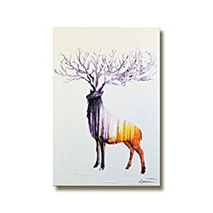 Modern Large Wall Art Abstract Animal Elk Decoration Painting on Canvas 100% Hand Painted Framed Minimal Deer and Forest Artwork Vertical for Home Living Room Bedroom Ready to Hang 24x40