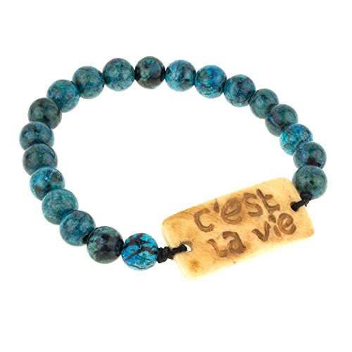 Serpentine Pendant Bead - Handcarved C'est La Vie Pendant Elastic Serpentine Bead Bracelet, Unisex by Kwanas