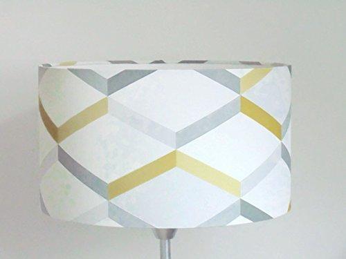 abat-jour géométrique scandinave jaune gris Luminaire diamètre personnalisé cylindre rond idée cadeau anniversaire décoration tendance hygge minimaliste