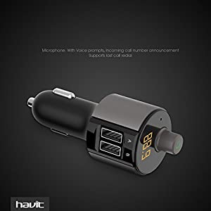 Havit Wireless Bluetooth FM Transmitter, 3.4A Car Charger with Dual USB ports, In-Car Radio Adapter, Hands-free Car Kit, MP3 Player with LED Display for iPhone, Android Cell Phone