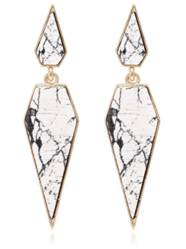 Bohemian Wood And Marble Effect Pentagon Shaped Drop Statement - Statement Bold