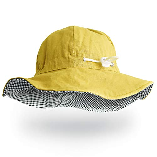 (Happy Tree Baby Sun Protection Hat Toddler Reversible Summer Bucket Hat Boys Girls Outdoor Adjustable Sun Cap, Yellow)