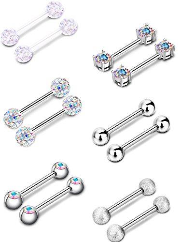 Sumind 6 Pairs Nipple Tongue Ring Stainless Steel Barbell Rings Cubic Zirconia Nipplerings Body Piercing Jewelry, 14 Gauge (AB Color)