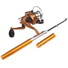 Docooler Mini Aluminum Saltwater Fishing Tackle Pocket Pen Fishing Rod Pole + Reel