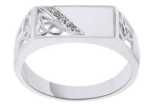 AFFY White Natural Diamond Trinity Knot Signet Ring in 10k White (10k Wg Ring)