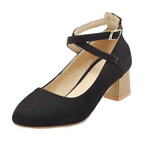 Ballet Tacco Puro Flats Donna AllhqFashion Nero Medio Fibbia Luccichio FBUIDD007025 UwYXXqv