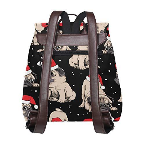 Kvinnor PU-läder mops ryggsäck handväska resa skola axelväska ledig dagväska
