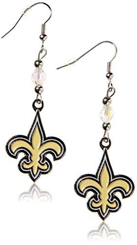 Siskiyou NFL New Orleans Saints Crystal Dangle Earrings