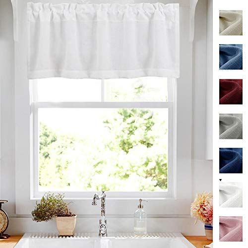 White Valance Kitchen Curtain Linen Textured 18 inch Window Treatment Valance for Living Room Dining Room