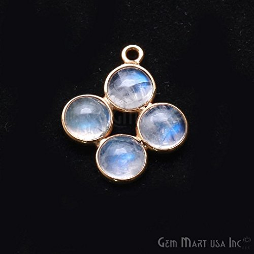 GemMartUSA Rainbow Moonstone Component, 20x17mm Square Shape Chandelier Finding, Filigree Finding, Jewelry Making Supplies, (GPRM-13076)