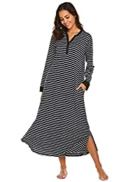 Ekouaer Womens Hooded Sleep Dress Long Sleepwear Casual Nightgown with Pockets