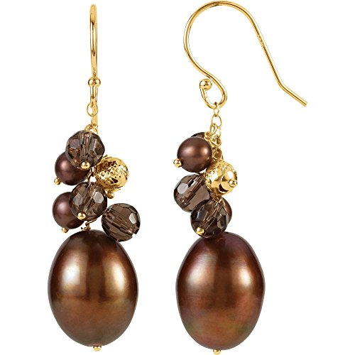 14K Yellow Gold Freshwater Cultured Dyed Chocolate Pearl & Smoky Quartz Hook Earrings