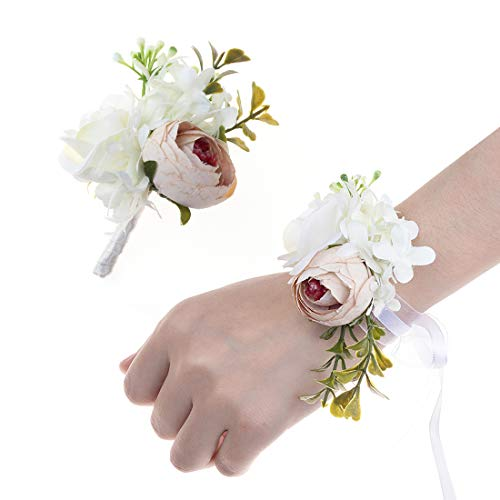 (JaosWish 2PCS Flower Wrist Corsage Boutonniere Set Artificial Peony Rose Corsage Set Handmade Bride Wristband Men Boutonniere for Groom Wedding Party Prom Suit )