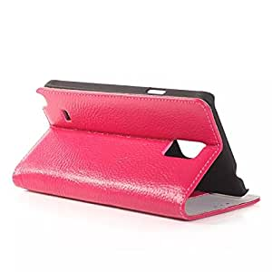 Hique Classical Luxury Wallet with ID Card and Stand Defender Genuine Litchi Leather Case for N9100 Samsung Note 4 (Pink)