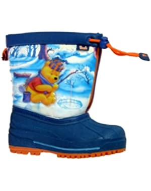 Disney Toddler Boys Blue Winnie The Pooh Snow Boots Size 11-12