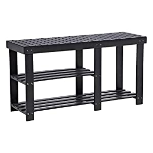 SONGMICS Bamboo Shoe Rack Bench,Entryway Storage Organizer, Shoe Shelf,Multi Function for Boots