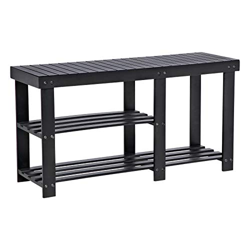 SONGMICS Bamboo Shoe Bench, Shoe Rack for Boots, Entryway Storage Organizer, 3-Tier Shoe Shelf, for Hallway, Bathroom, Living Room, Corridor, Black ULBS06BK