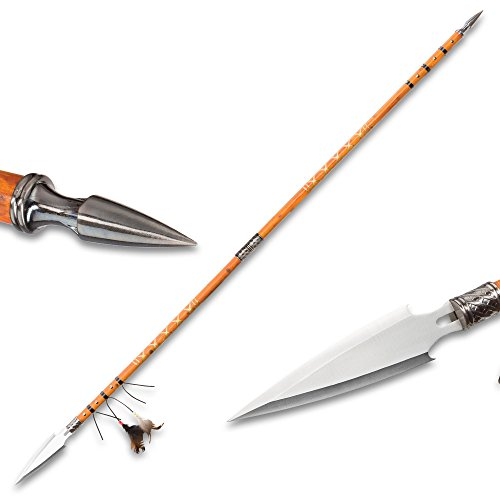 K EXCLUSIVE Double Pointed Native Spear - Wooden Shaft, Stainless Steel Spear, Breaks Down, Feather Accents, Leather Wrappings - Overall Length 67 1/4