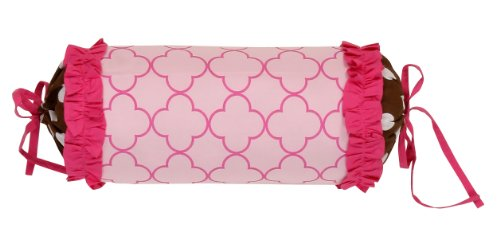 Butterflies pink/chocolate Neck Roll by Bacati