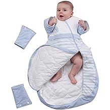 OuYun Baby Organic Sleeping Bag Detachable Sleeve Wearable Blanket,Blue,350g Filling for 32-59℉