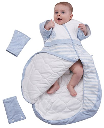 OuYun Baby Organic Sleeping Bag Detachable Sleeve Wearable Blanket,Blue,Double Layer for 68-77℉ by OuYun