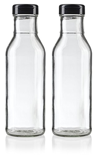 12 oz Professional Clear Glass Thick Wall Sauce Bottle with Drip Resistant Flip Top Cap (2 Pack) + Labels for BBQ Sauce, Salad Dressings, more