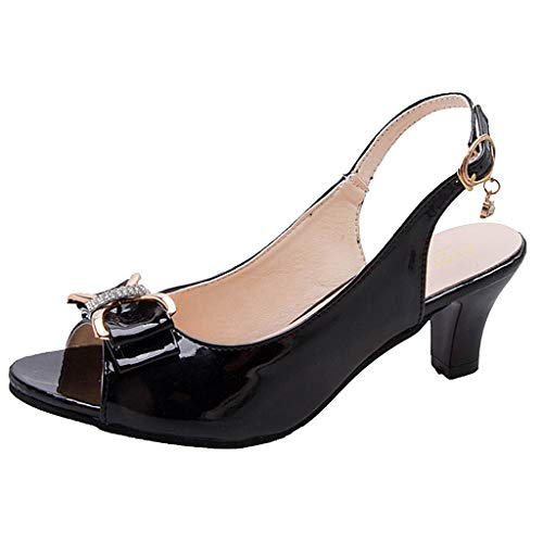 Lovygaga Women Popular Sexy Fish Mouth Crystal Bowknot Ankle Buckle Single Shoes Casual Comfy Wild Low-Heel Sandals Black