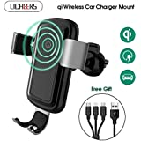licheers Wireless Car Charger Mount, Adjustable Gravity Air Vent Phone HolderHolder Compatible iPhone Xs Max iPhoneX iPhone8 Samsung Galaxy S8, S8 Plus,S7 Edge, S6Plus, Note 8 Qi Certified(Black)
