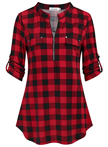 Ninedaily Women's Tops, 3/4 Sleeve Roll up Shirts Zip Floral Casual Tunic Blouse Tops Black and Red Plaid Shirt, Size XXL ()